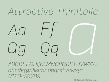 Attractive ThinItalic Version 3.001图片样张