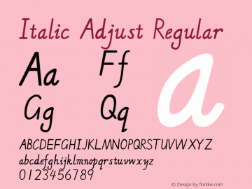 Italic Adjust Version 1.00 February 7, 2018, initial release图片样张