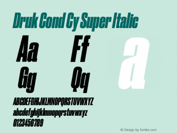 Druk Cond Cy Super Italic Version 1.1 2017图片样张