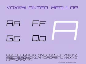 Vox-Slanted Regular Unknown Font Sample