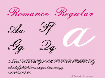 Romance Regular Macromedia Fontographer 4.1.2 8/7/96 Font Sample