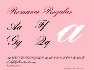 Romance Regular 001.001 Font Sample