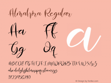 Almahira Version 1.00;March 12, 2019;FontCreator 11.5.0.2430 64-bit图片样张