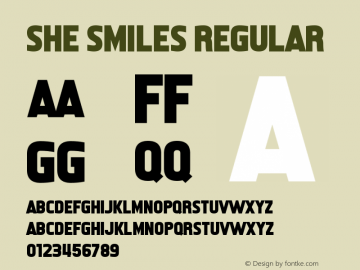 She Smiles Version 1.00;March 13, 2019;FontCreator 11.5.0.2430 64-bit图片样张