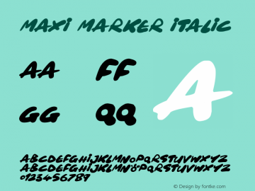 Maxi Marker Italic Version 1.00 March 14, 2019, initial release图片样张
