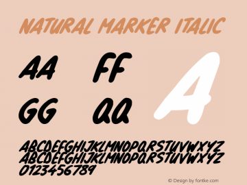 Natural Marker Italic Version 1.00 March 14, 2019, initial release图片样张