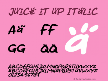 Juice it up Italic Version 1.00 March 14, 2019, initial release图片样张