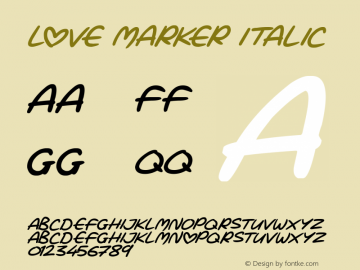 Love Marker Italic Version 1.00 March 15, 2019, initial release图片样张