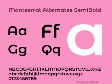 Montserrat Alternates SemiBold Version 7.200图片样张