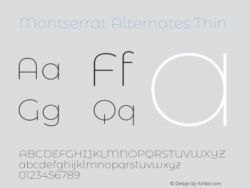 Montserrat Alternates Thin Version 7.200;PS 007.200;hotconv 1.0.88;makeotf.lib2.5.64775图片样张
