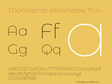Montserrat Alternates Thin Version 7.200图片样张