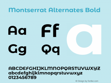 Montserrat Alternates Bold Version 7.200;PS 007.200;hotconv 1.0.88;makeotf.lib2.5.64775图片样张