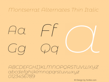 Montserrat Alternates Thin Italic Version 7.200;PS 007.200;hotconv 1.0.88;makeotf.lib2.5.64775图片样张