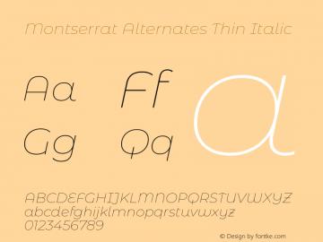 Montserrat Alternates Thin Italic Version 7.200;PS 007.200;hotconv 1.0.88;makeotf.lib2.5.64775图片样张