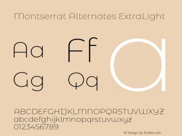 Montserrat Alternates ExtraLight Version 7.200图片样张