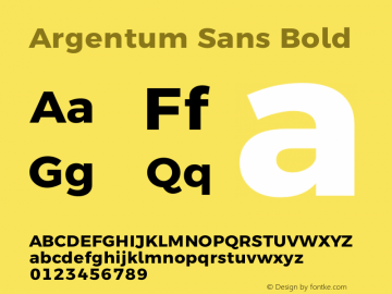 Argentum Sans Bold Version 5.001;March 13, 2019;FontCreator 11.5.0.2425 64-bit图片样张