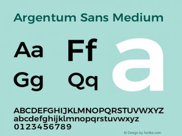 Argentum Sans Medium Version 5.001;March 13, 2019;FontCreator 11.5.0.2425 64-bit图片样张
