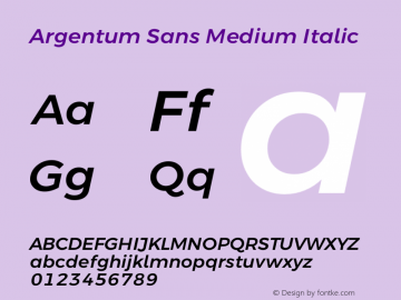 Argentum Sans Medium Italic Version 5.001;March 13, 2019;FontCreator 11.5.0.2425 64-bit图片样张
