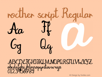 rocther script Version 1.00;March 12, 2019;FontCreator 11.5.0.2427 32-bit图片样张