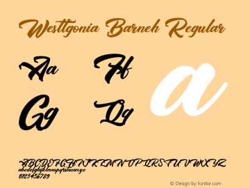 Westtgonia Barneh Version 1.003;Fontself Maker 3.1.1图片样张