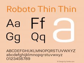 Roboto Thin Version 1.005 | CWR FONToMASS Premium compilation图片样张
