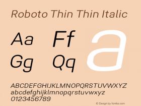 Roboto Thin Italic Version 1.005 | CWR FONToMASS Premium compilation图片样张