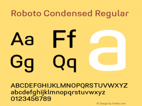 Roboto Condensed Regular Version 1.005 | CWR FONToMASS Premium compilation图片样张