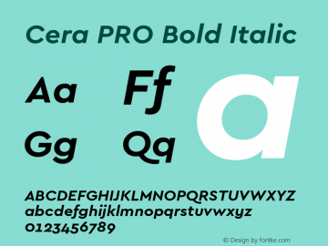 CeraPRO-BoldItalic Version 1.001图片样张