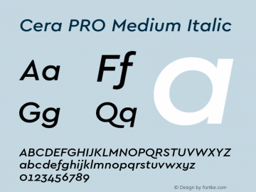 CeraPRO-MediumItalic Version 1.001图片样张
