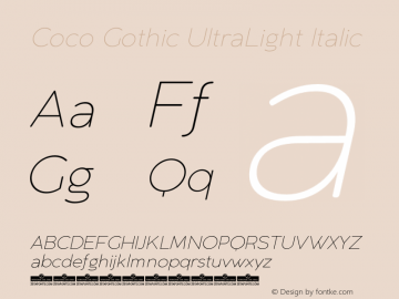 CocoGothic-UltraLightItalic Version 2.001图片样张