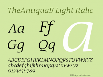 TheAntiquaB-LightItalic 001.000图片样张
