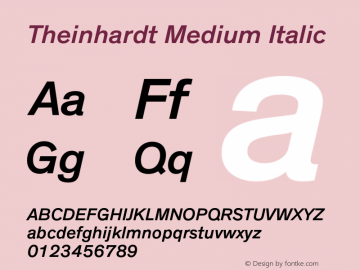 Theinhardt-MediumItalic Version 1.000图片样张
