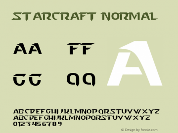 Starcraft Normal Version 1.0 Font Sample
