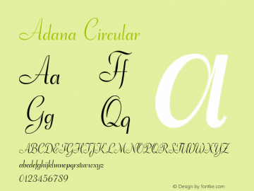 Adana Circular Version 2.001;July 30, 2018;FontCreator 11.5.0.2427 64-bit图片样张