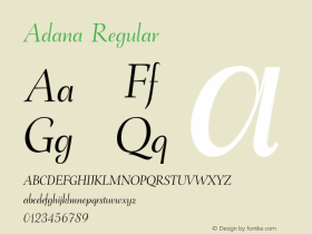 Adana Version 2.001;July 30, 2018;FontCreator 11.5.0.2427 64-bit图片样张