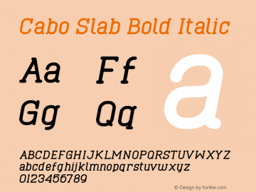 Cabo Slab Bold Italic Version 1.002;Fontself Maker 3.1.1图片样张