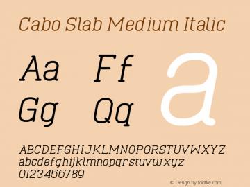 Cabo Slab Medium Italic Version 1.002;Fontself Maker 3.1.1图片样张