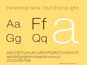 HelveticaNowText-ExtraLight Version 1.00, build 4, s3图片样张