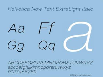 HelveticaNowText-ExtLtIta Version 1.00, build 4, s3图片样张