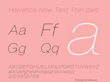 HelveticaNowText-ThinItalic Version 1.00, build 4, s3图片样张