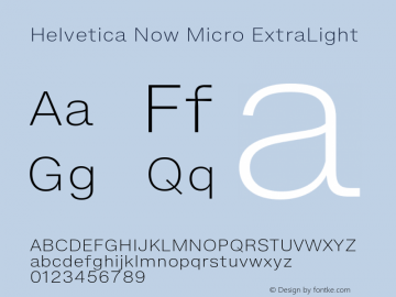 HelveticaNowMicro-ExtraLight Version 1.00, build 4, s3图片样张
