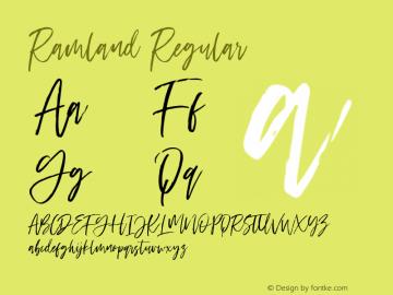 Ramland Version 1.00;April 15, 2019;FontCreator 11.5.0.2430 32-bit图片样张