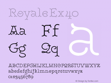 RoyaleEx40 Version 1.000;PS 001.000;hotconv 1.0.88;makeotf.lib2.5.64775;YWFTv17图片样张