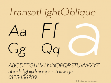 ☞Transat Light Oblique Version 1.1;com.myfonts.easy.typetanic-fonts.transat.oblique.wfkit2.version.42ha图片样张