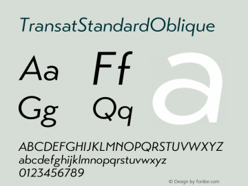 ☞Transat Standard Oblique Version 1.1;com.myfonts.easy.typetanic-fonts.transat.standard-oblique.wfkit2.version.42hk图片样张