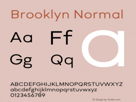 Brooklyn Normal Version 1.000;PS 001.000;hotconv 1.0.88;makeotf.lib2.5.64775图片样张