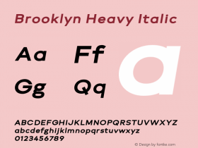 Brooklyn Heavy Italic Version 1.000;PS 001.000;hotconv 1.0.88;makeotf.lib2.5.64775图片样张