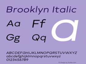 Brooklyn Italic Version 1.000;PS 001.000;hotconv 1.0.88;makeotf.lib2.5.64775图片样张