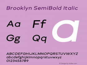 Brooklyn SemiBold Italic Version 1.000;PS 001.000;hotconv 1.0.88;makeotf.lib2.5.64775图片样张