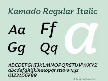 Kamado-RegularItalic Version 1.000;PS 001.000;hotconv 1.0.88;makeotf.lib2.5.64775图片样张